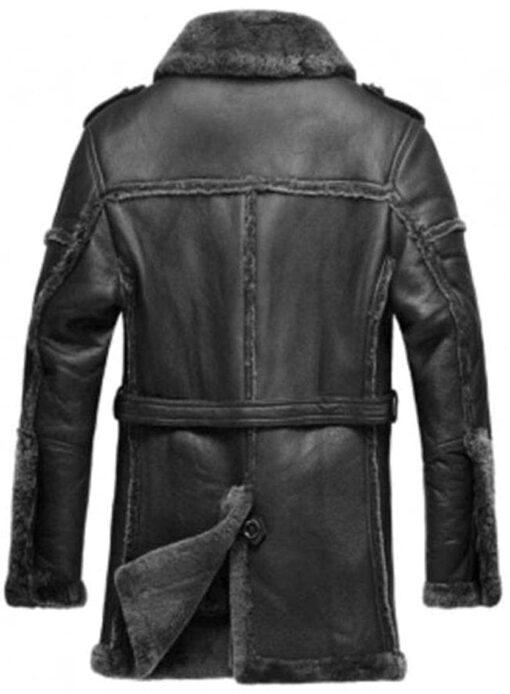 mens shearling Fur Collar black jacket