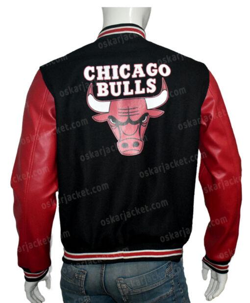 Chicago Bulls Red & Black Bomber Jacket Back
