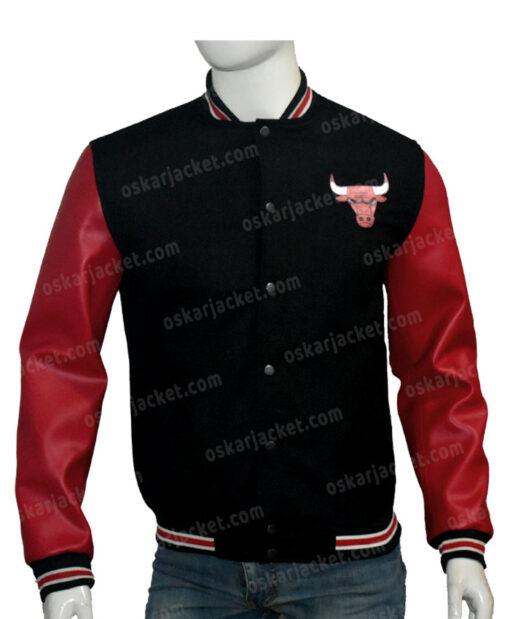 Chicago Bulls Red & Black Bomber Jacket Front