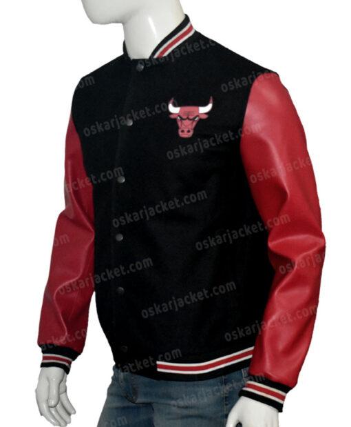 Chicago Bulls Red & Black Bomber Jacket Left