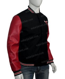 Chicago Bulls Red & Black Bomber Jacket Right