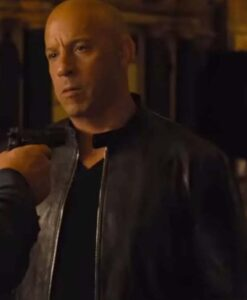 Fast 09 Vin Diesel Black Leather Jacket Front
