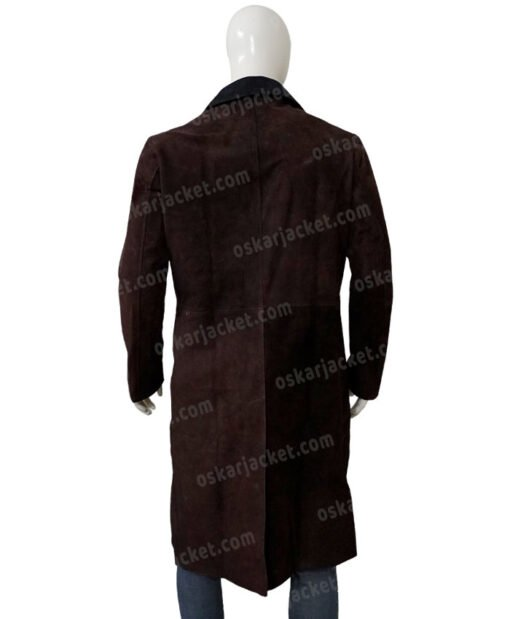 Jesper Fahey Shadow and Bone Suede Leather Coat Back