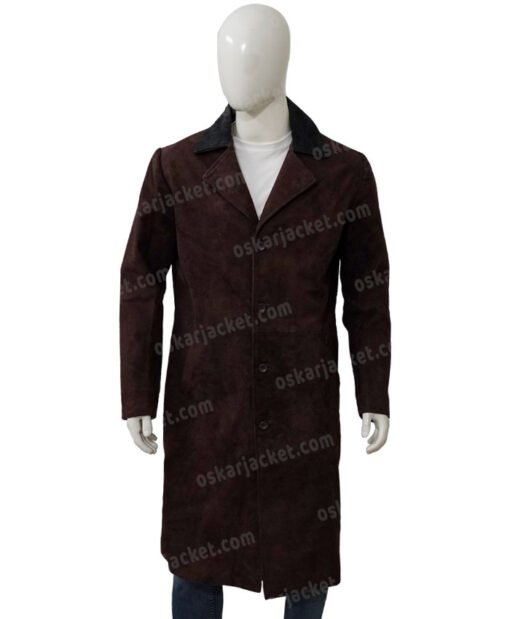Jesper Fahey Shadow and Bone Suede Leather Coat Front