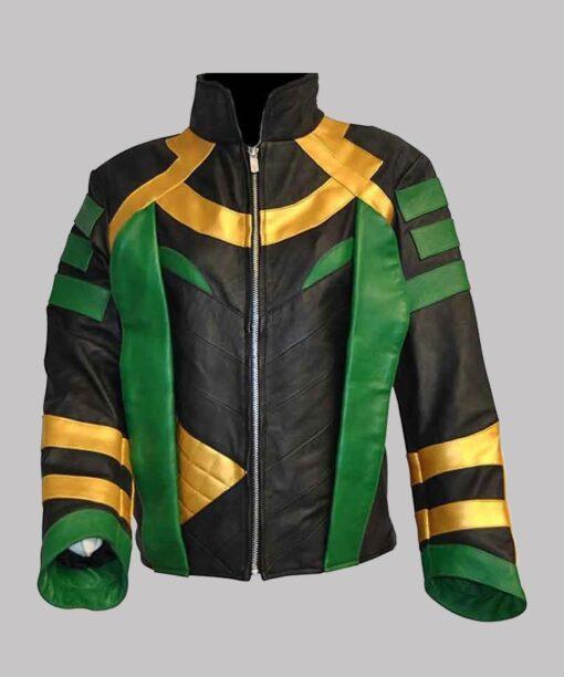 Loki S01 Multicolored Striped Leather Jacket