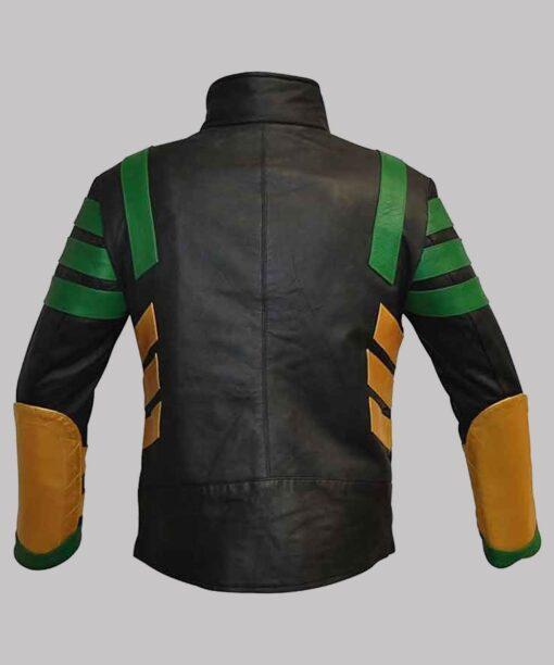 Loki S01 Multicolored Striped Leather Jacket Back