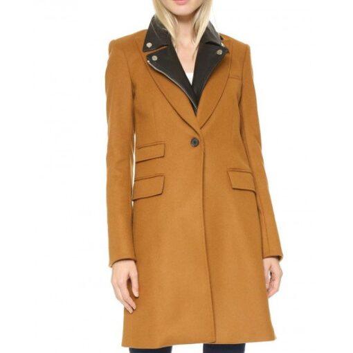 Manifest Michaela Stone Brown Wool Coat Front