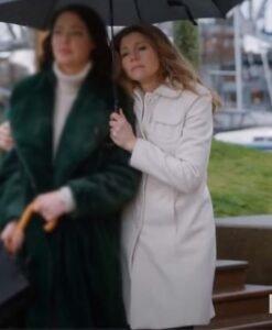 Sarah Chalke Firefly Lane White Coat