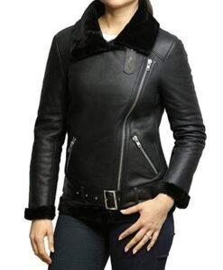 Shearling Fur Black Leather Jacket For Women