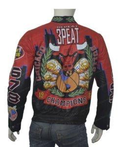 Three Peat Chicago Bulls Red Jacket Back