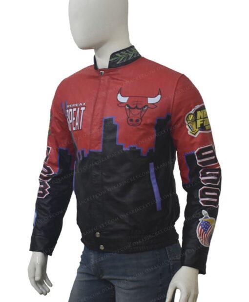 Three Peat Chicago Bulls Red Jacket Left
