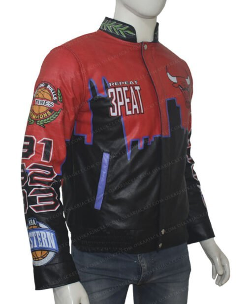 Three Peat Chicago Bulls Red Jacket Right Side