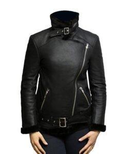 Women Shearling Fur Black Leather Jacket