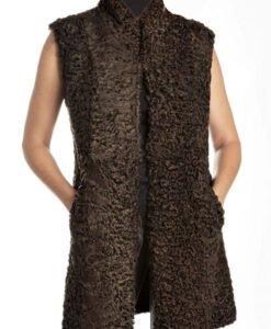 Womens Persian Lamb Shearling Fur Sleeveless Coat