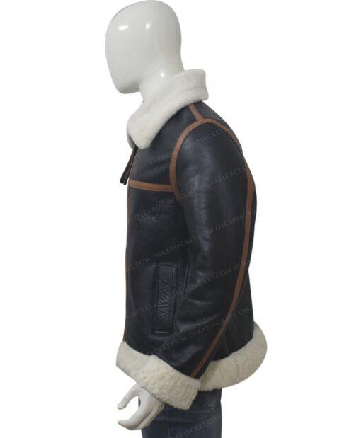 B3 Shearling Fur Bomber Jacket Left
