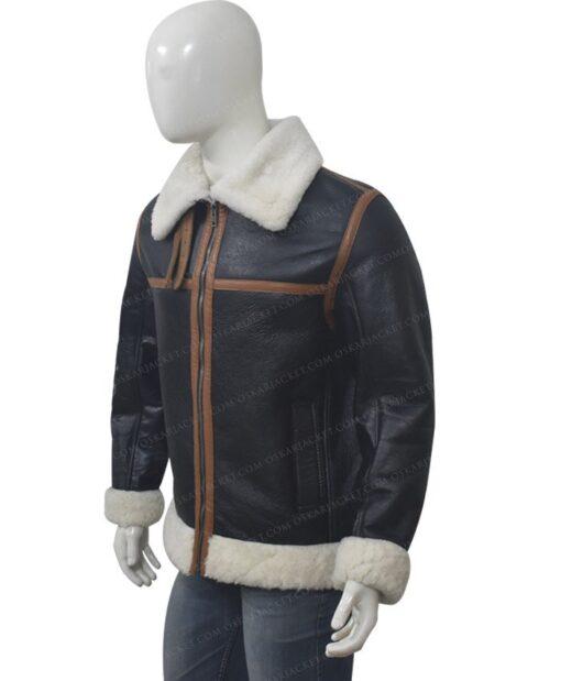 B3 Shearling Fur Bomber Jacket Left Side