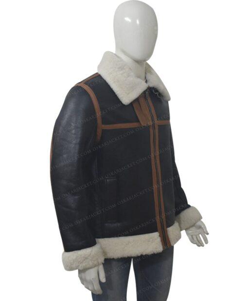 B3 Shearling Fur Bomber Jacket Right Side