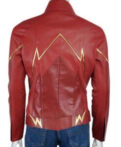 Barry Allen Grant Gustin The Flash Speedster Logo Red Leather Jacket Back