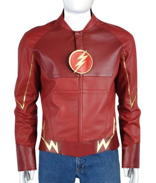 Barry Allen Grant Gustin The Flash Speedster Logo Red Leather Jacket