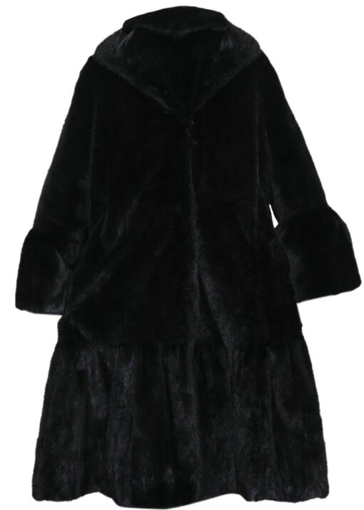 Black Mink Fur Long Coat