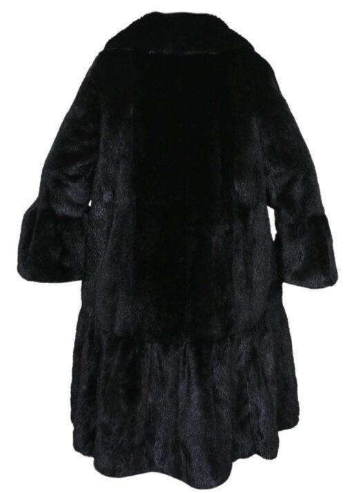 Black Mink Fur Long Coat Back