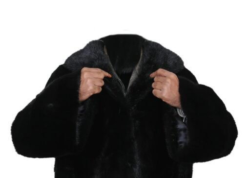 Black Mink Fur Long Coat Collar Image