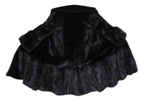 Black Mink Fur Long Coat Opened Back