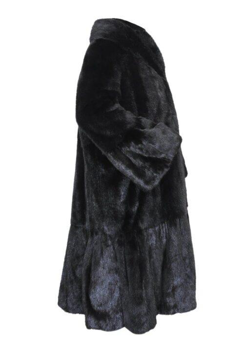 Black Mink Fur Long Coat Right