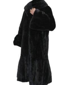 Black Mink Fur Long Coat Side Image
