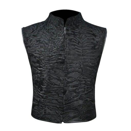 Black Persian Lamb Fur Vest Waistcoat