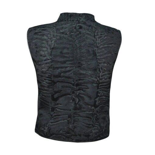 Black Persian Lamb Fur Vest Waistcoat Back
