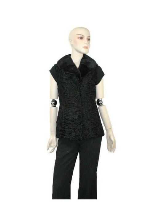 Black Persian Lamb Fur Vest Waistcoat Image