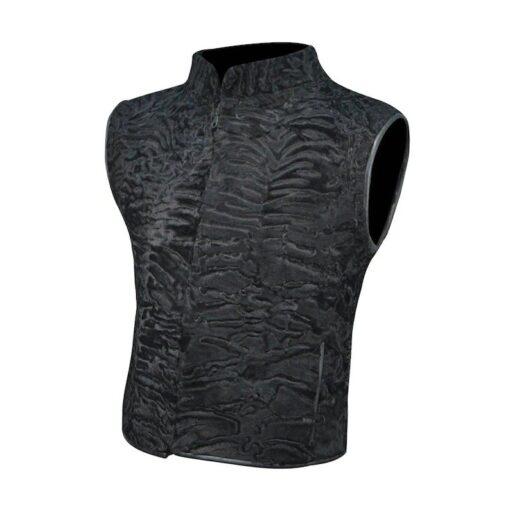 Black Persian Lamb Fur Vest Waistcoat Side