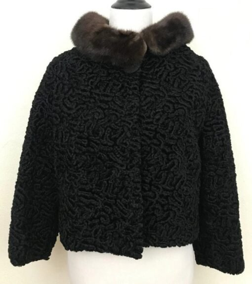 Black Persian Lamb Mink Collar Fur Jacket