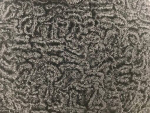 Black Persian Lamb Mink Collar Fur Jacket Focused Image