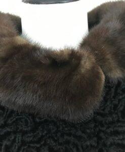 Black Persian Lamb Mink Collar Fur Jacket Image