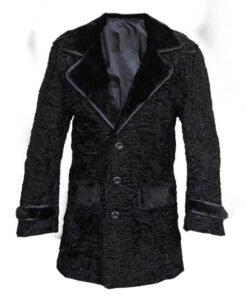 Black Persian Lamb Mink Fur Collar Coat