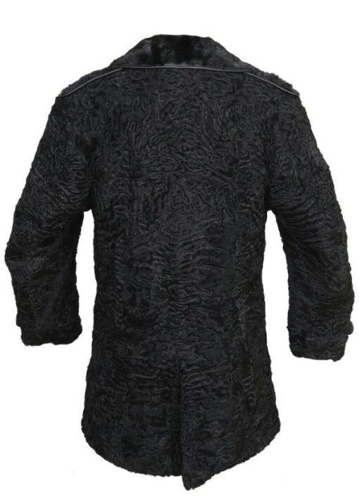 Black Persian Lamb Mink Fur Collar Coat Back
