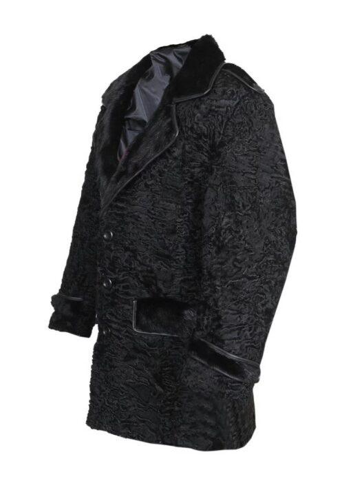 Black Persian Lamb Mink Fur Collar Coat Left