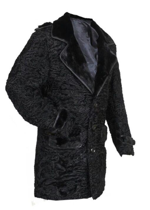 Black Persian Lamb Mink Fur Collar Coat Right