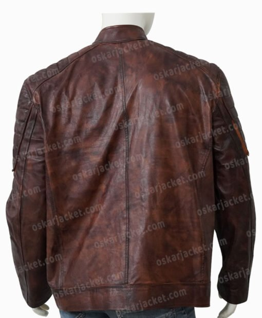 Boss Level Roy Pulver Brown Leather Jacket Back
