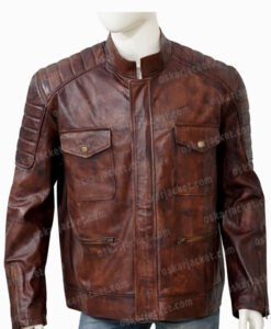 Boss Level Roy Pulver Brown Leather Jacket Front