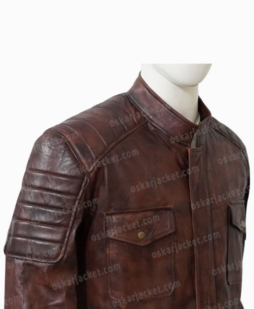 Boss Level Roy Pulver Brown Leather Jacket Side