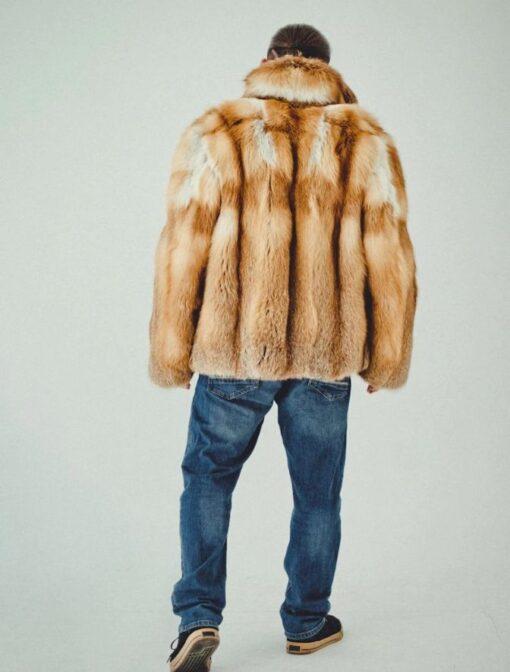 Brown Fox Fur Coat Back