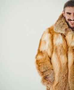 Brown Fox Fur Coat Half