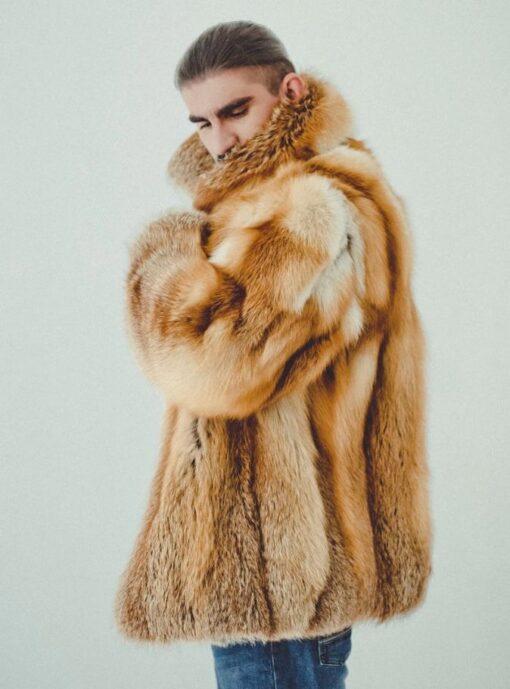 Brown Fox Fur Coat Side Image
