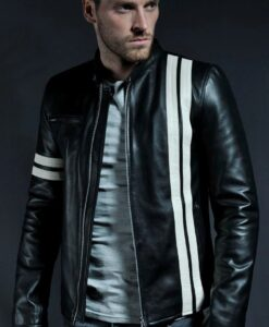 Cafe Racer White Stripe Black Leather Jacket