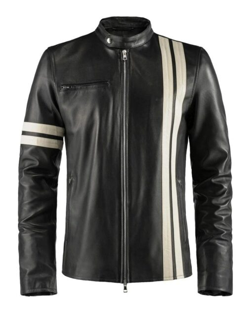 Cafe Racer White Stripe Leather Jacket