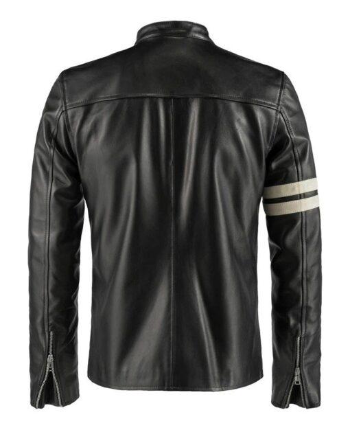 Cafe Racer White Stripe Leather Jacket Back