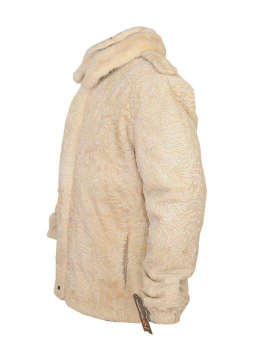 Cream Persian Lamb Fur Coat Left